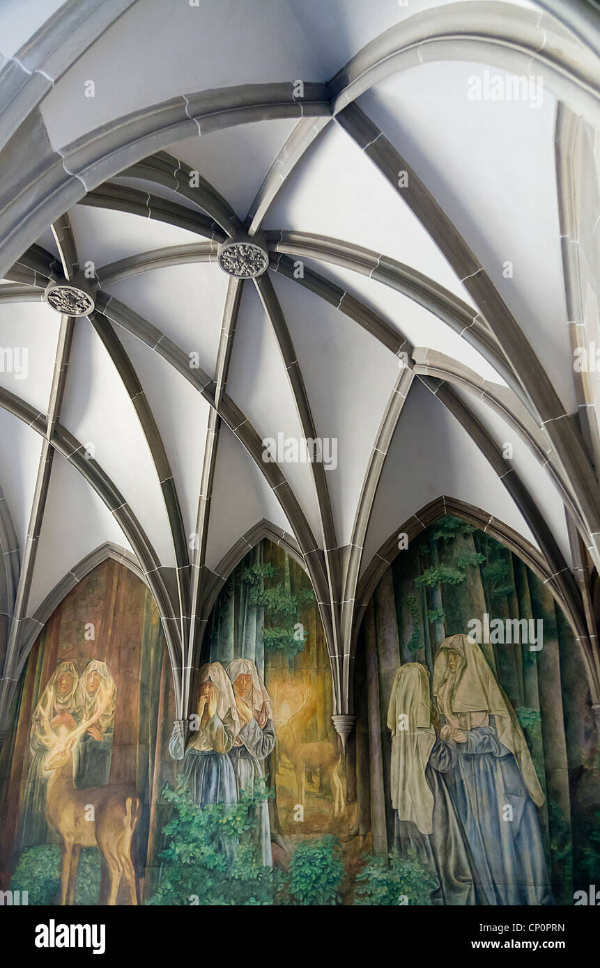 mural outside a church, Zurich, Switzerland - Stock Image