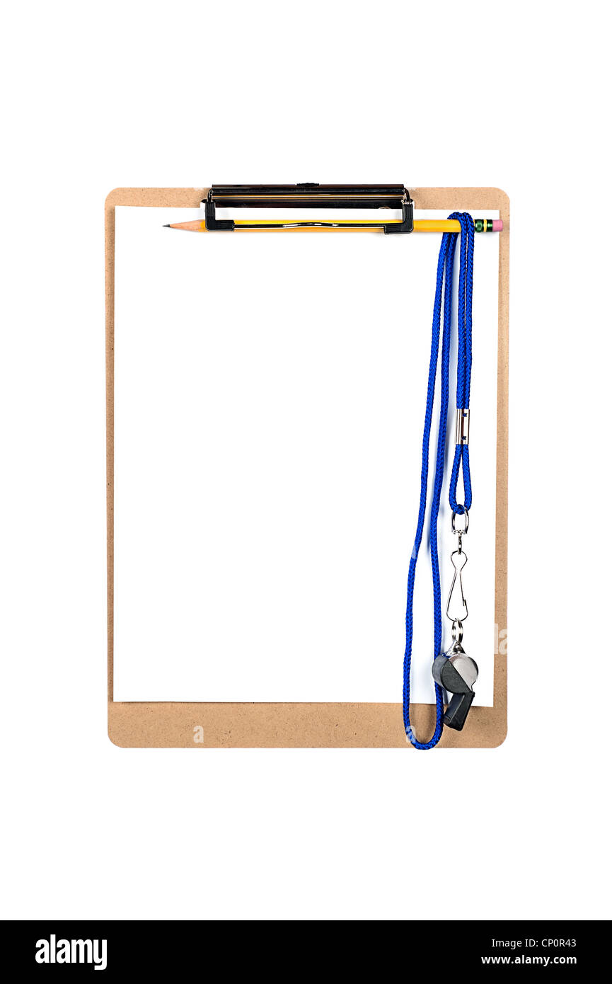 A clipboard with a clean, blank sheet of white paper and whistle hanging from a number 2 yellow pencil. - Stock Image