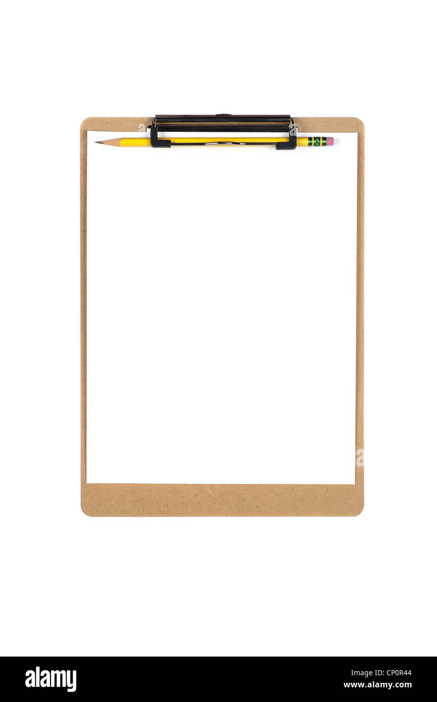 A new clipboard with a blank sheet of paper for copy placement. Image is isolated on white for designer convenience. - Stock Image