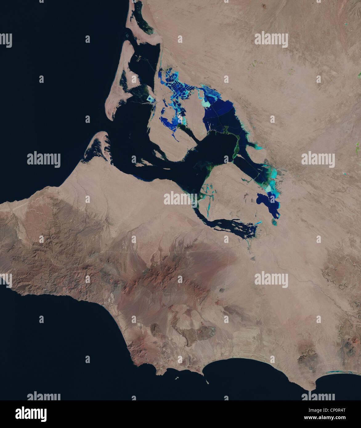 satellite image of Scammons Lagoon, Guerrero Negro, Baja, Mexico - Stock Image