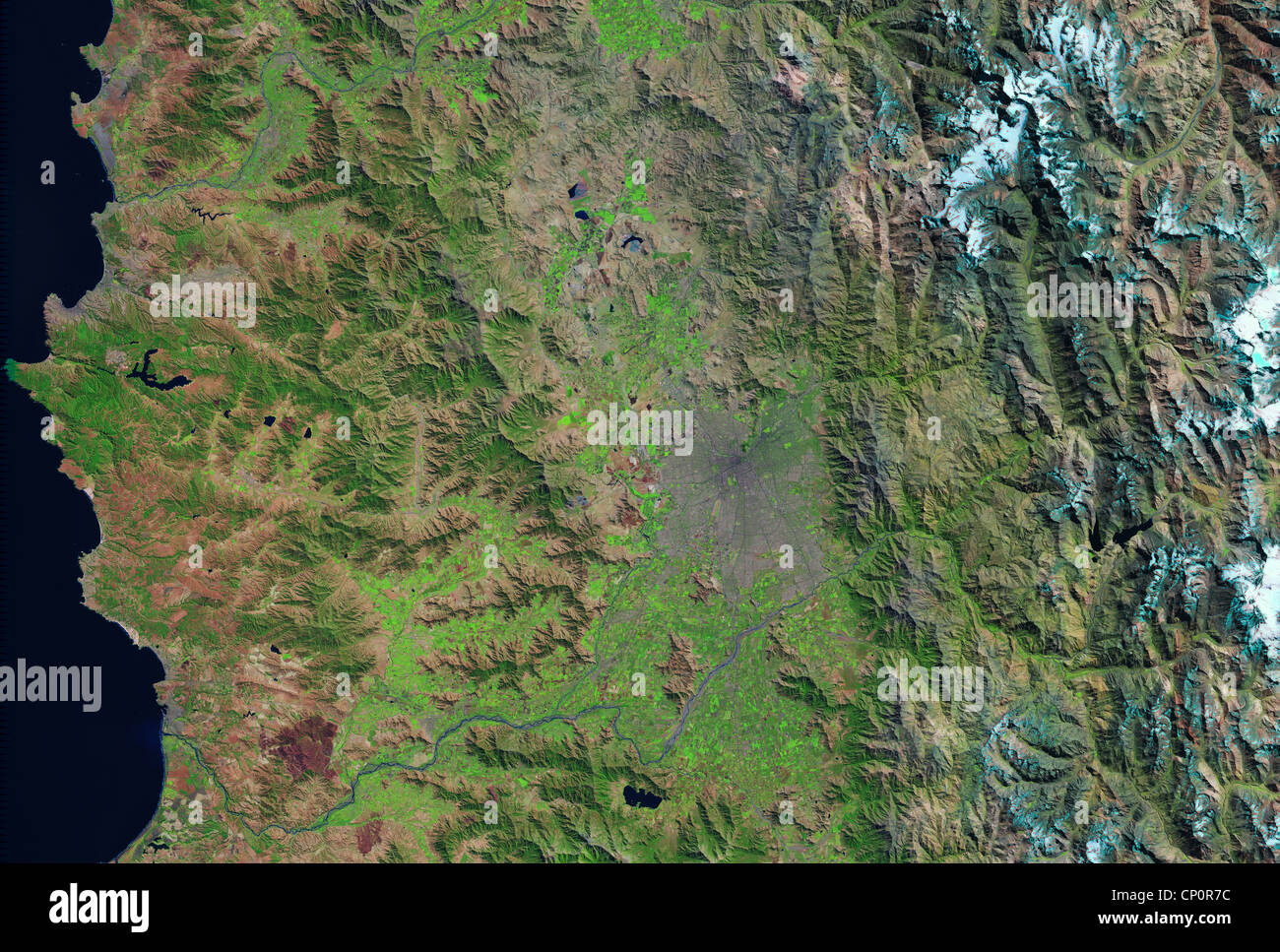satellite image of Santiago, Chile, Andes Mountains Stock ...