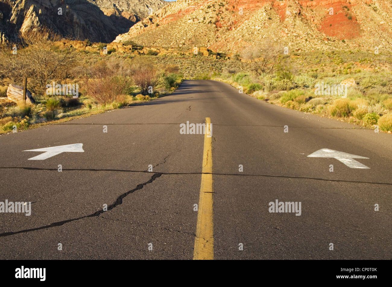 arrows on a one way road point forward towards the mountains - Stock Image
