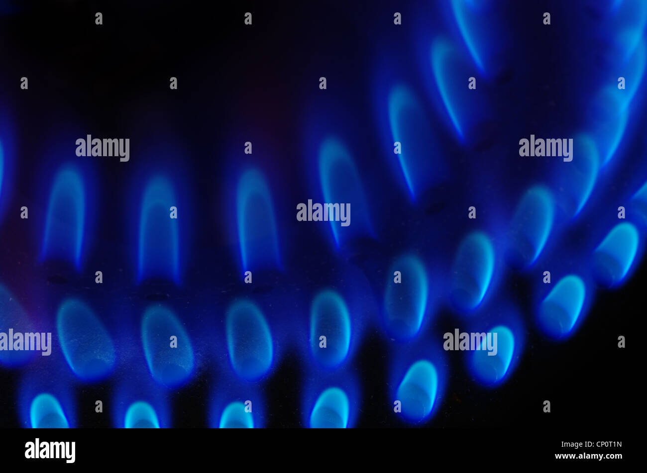 gas stove burner detail with blue flames and dark background - Stock Image