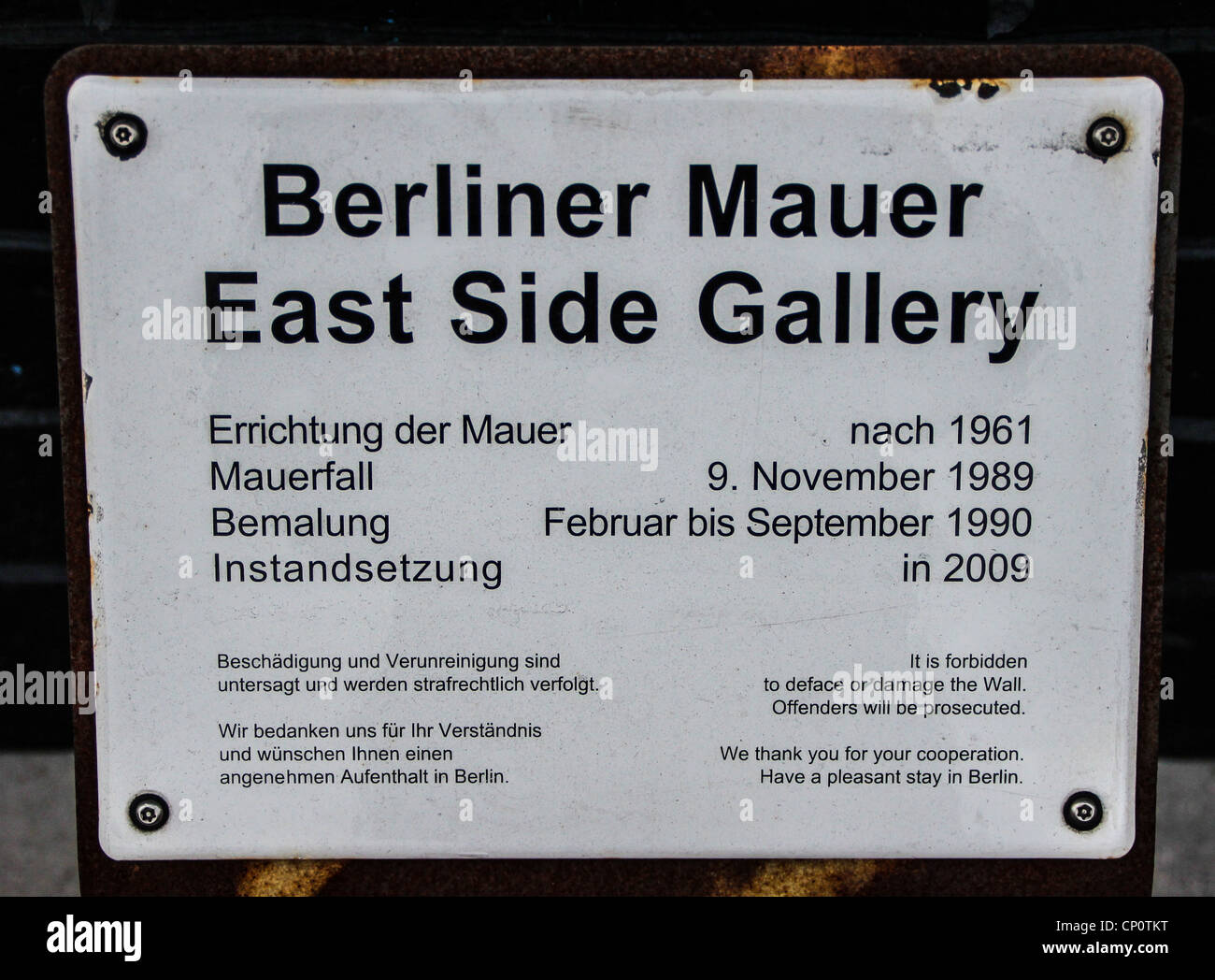 Plaque of the East Side gallery at the Berlin Wall in Germany - Stock Image