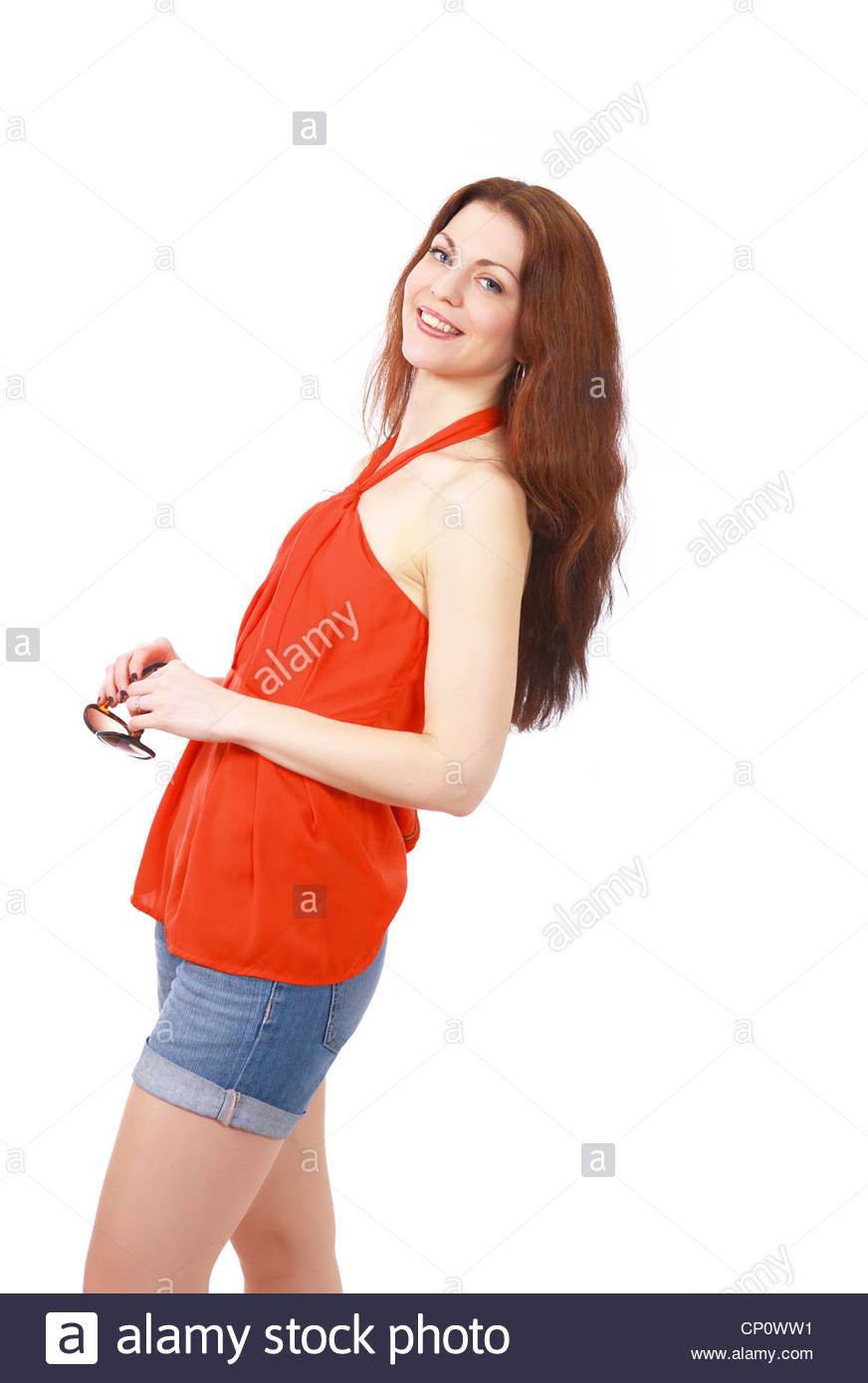 Summer fashion girl in casuals with sunglasses - Stock Image