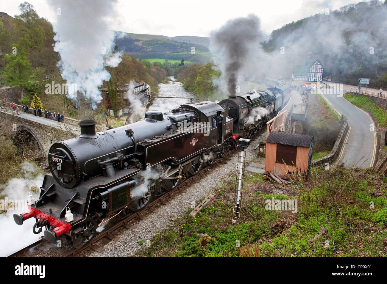 Double header 80072 and 70000 Britannia, at Steel, Steam and Stars event, Berwyn station, Llangollen Railway, Wales Stock Photo