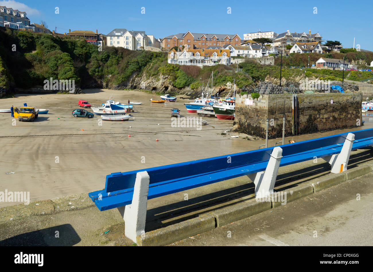 Newquay harbour at low tide, Cornwall UK. - Stock Image