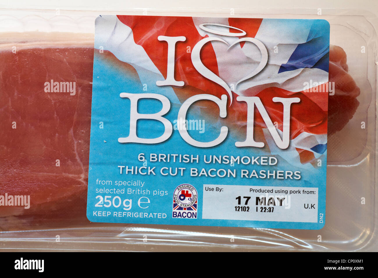 I love BCN Bacon label on pack of 6 British unsmoked thick cut bacon rashers - Stock Image