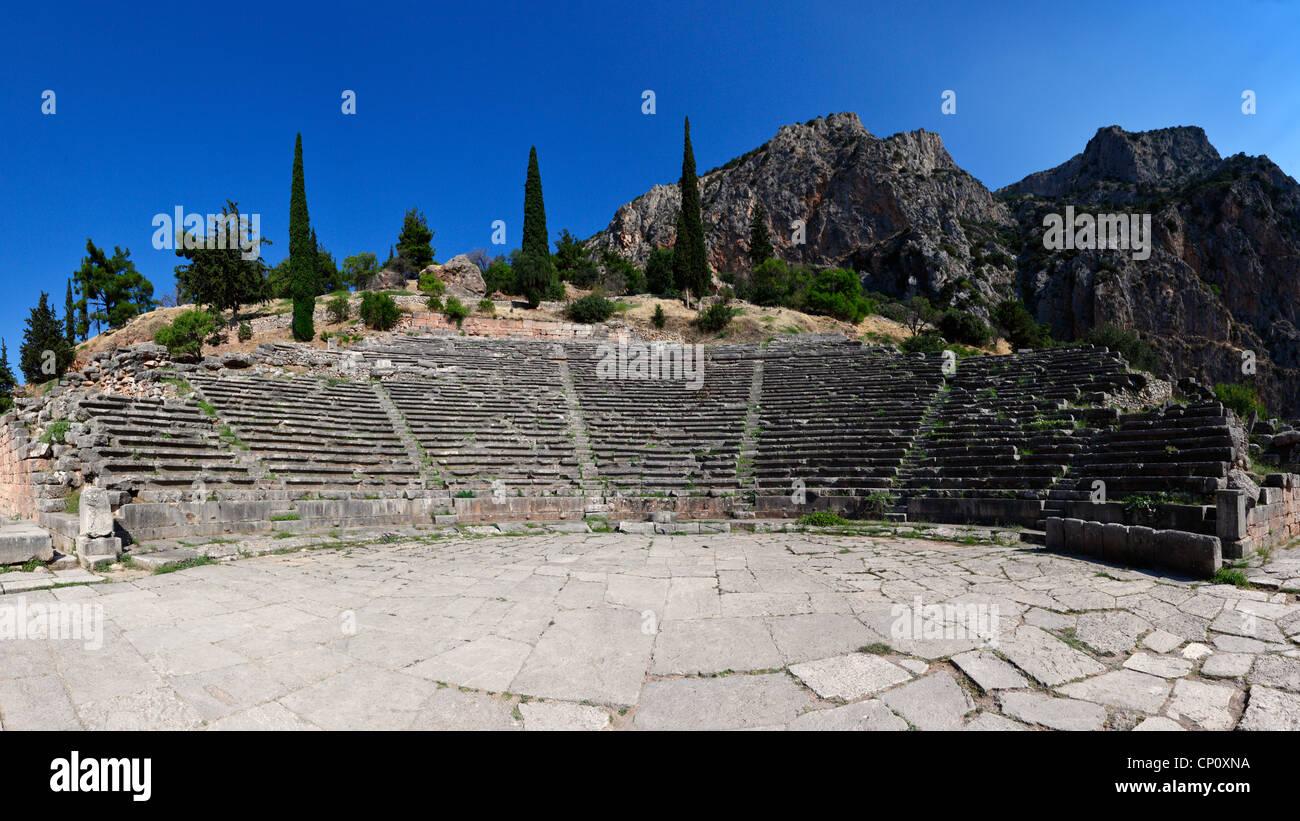 Ancient Theatre (4th cent. B.C.) in Delphi, Greece Stock Photo