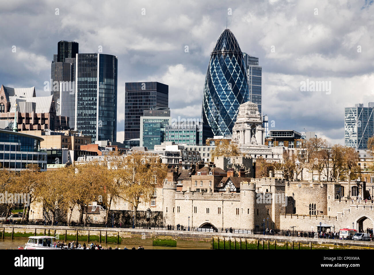 The London skyline including the square mile and the Tower of London, England. - Stock Image