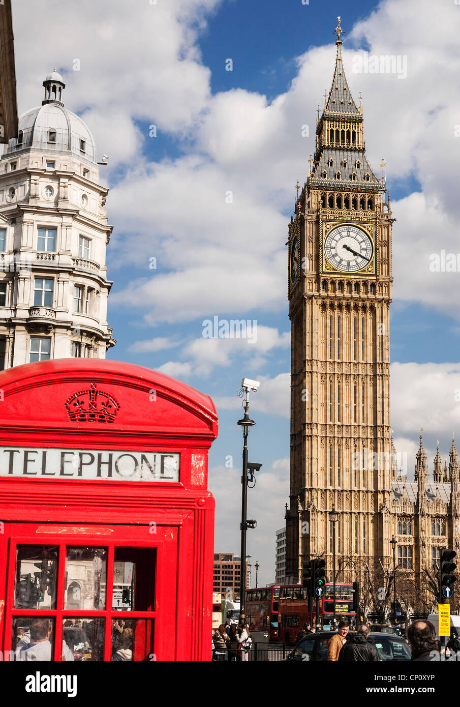 "Red telephone box and the Big Ben clock tower ""Elizabeth ..."