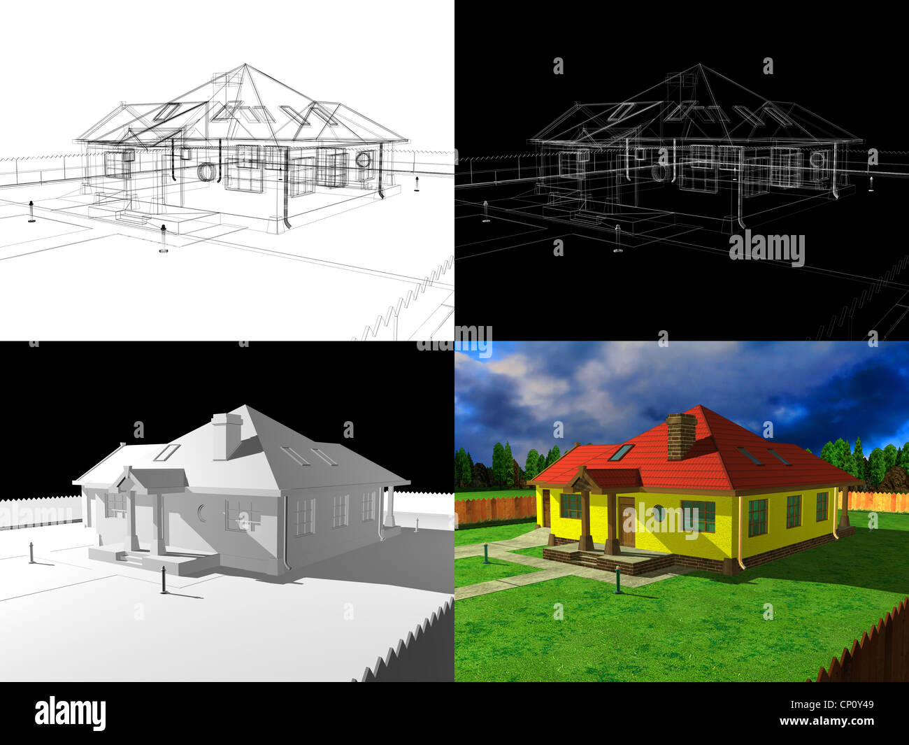 3d House Model Project Render Stock Photo 47964457 Alamy