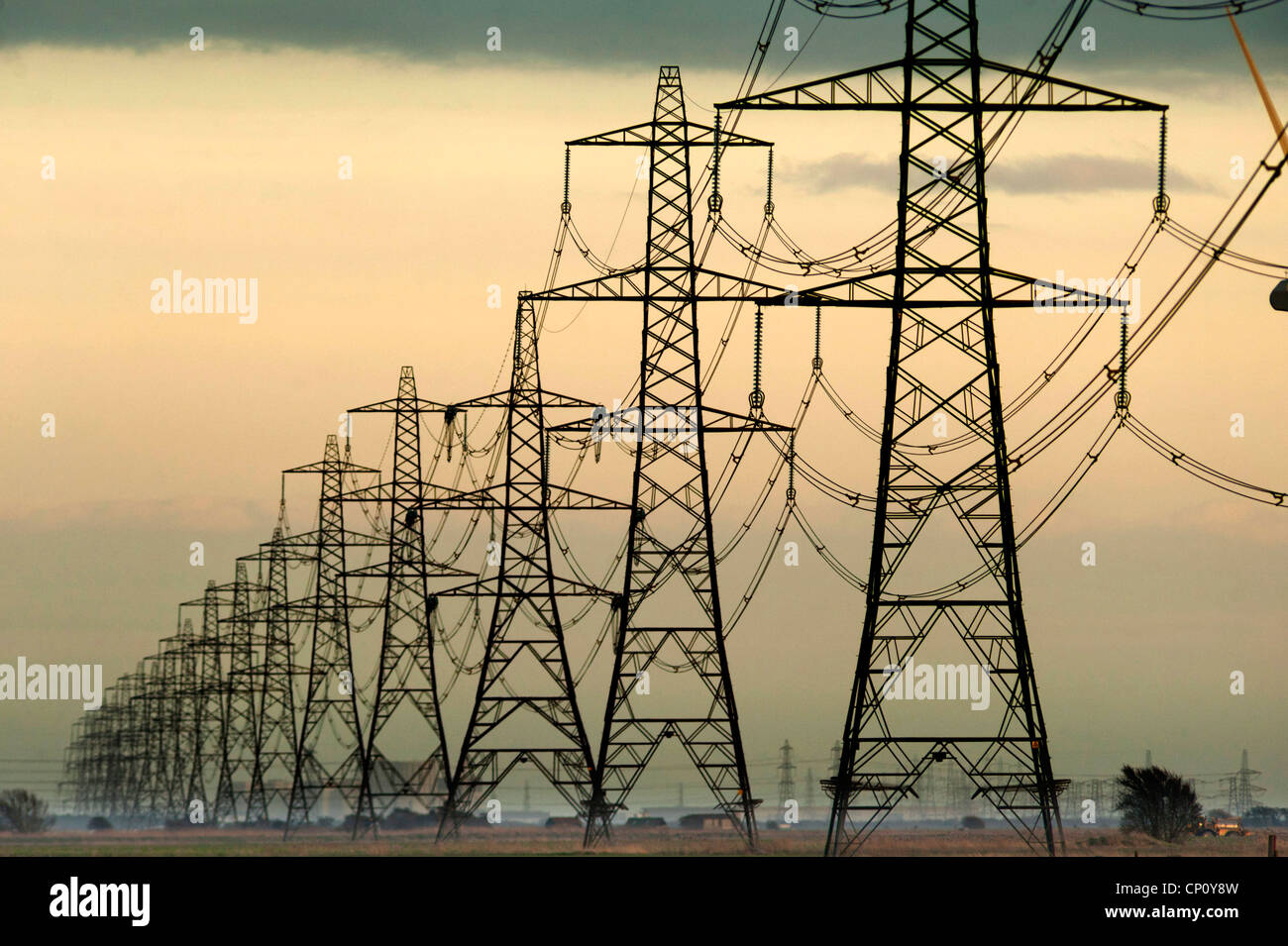 Electricity pylons in southern England. - Stock Image