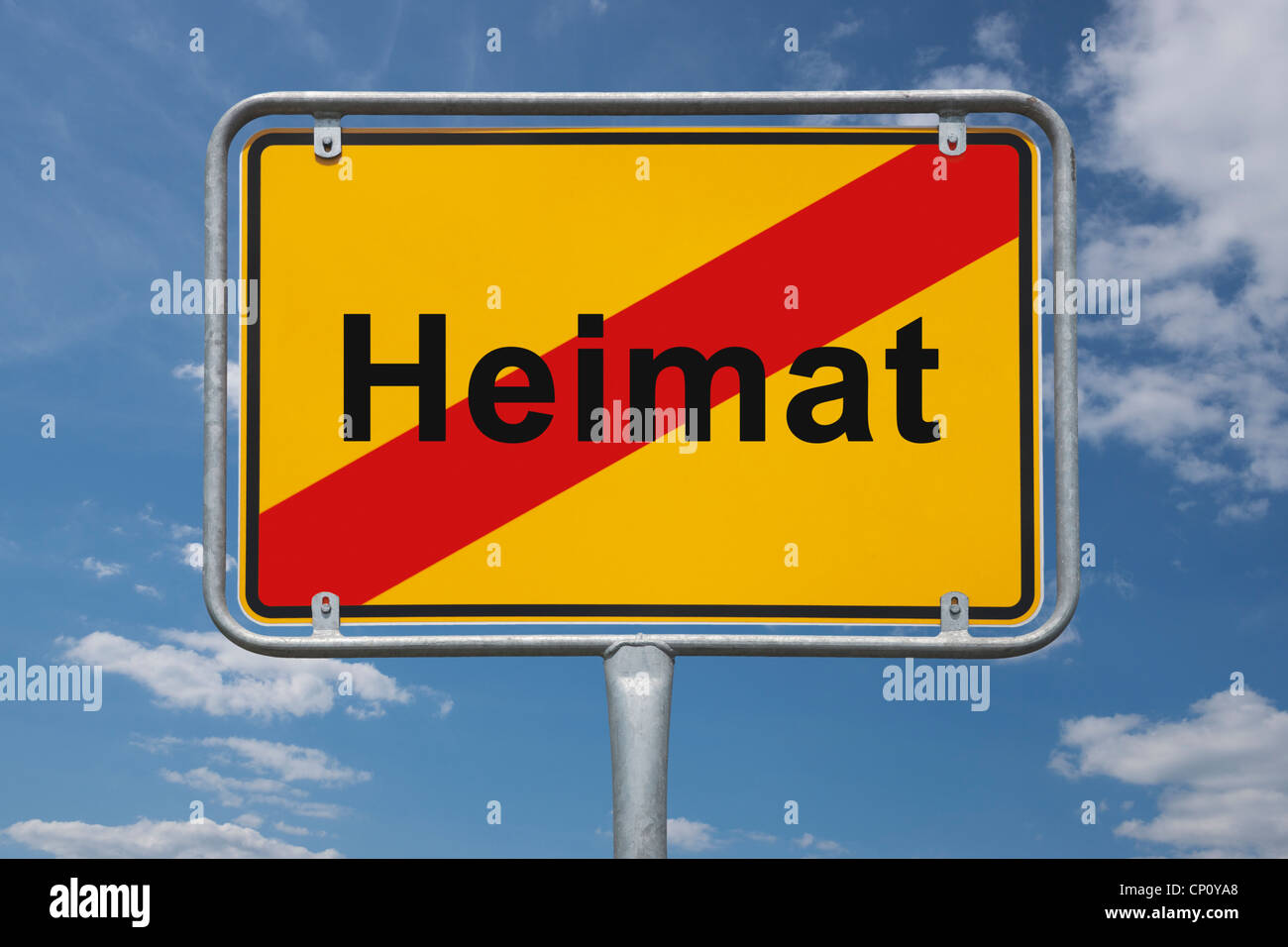 Town sign Germany, End of the town with the German inscription home Stock Photo