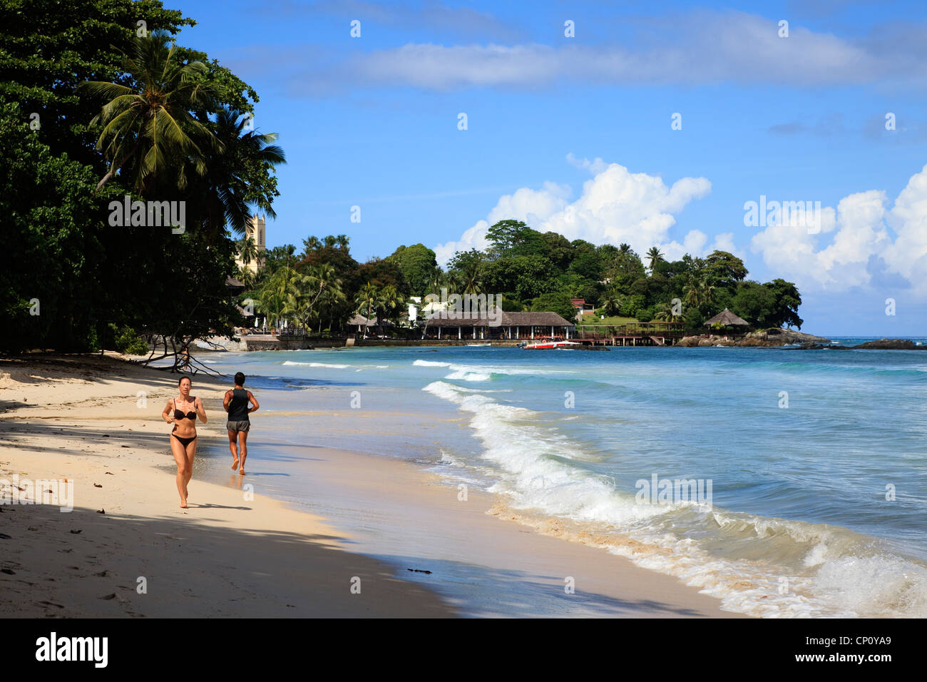 Sandy bay at Bel Ombre, Mahe Island, Seychelles - Stock Image