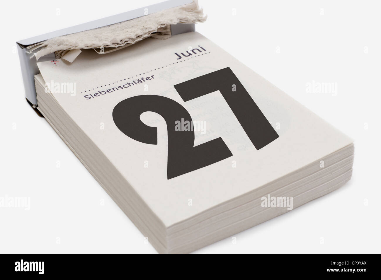 A calendar sheet shows June 27th. In Germany, June 27th is Siebenschläfertag (Seven Sleepers Day). - Stock Image