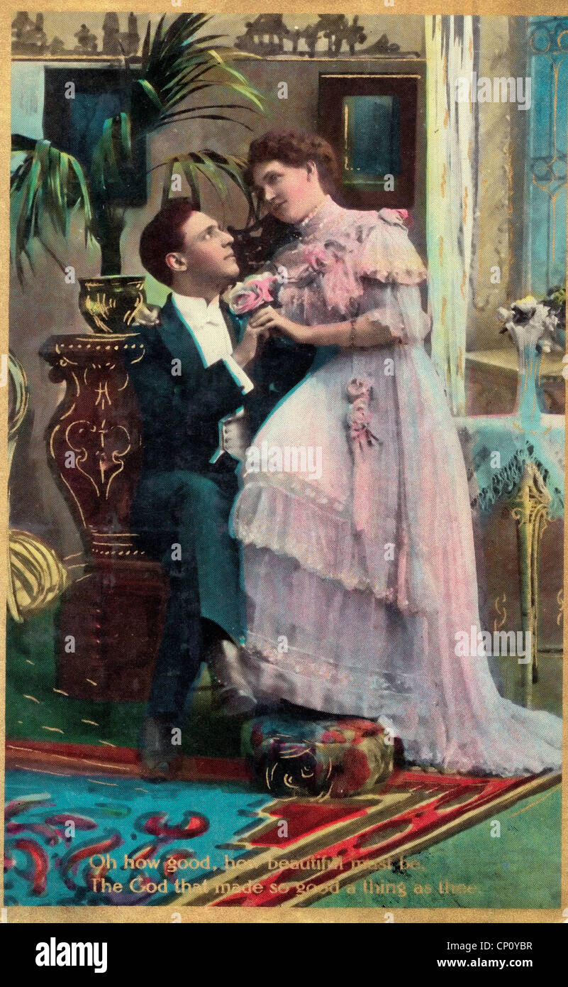 'Oh how good, How beautiful must be, the God that made so good a thing as thee' - Vintage postcard - Stock Image