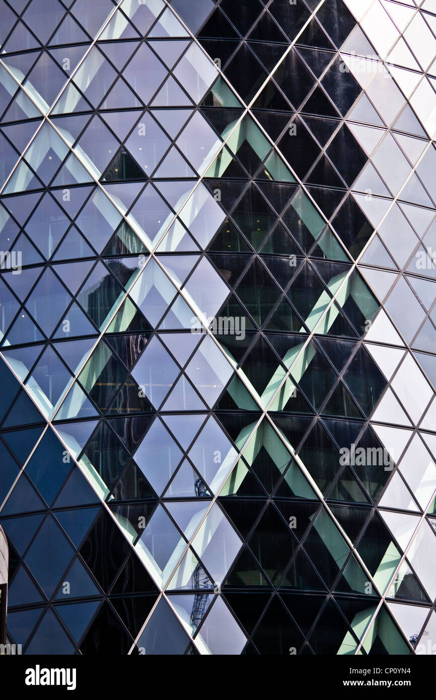 Reflections in the Gherkin, 30 St Mary Axe, City of London - Stock Image