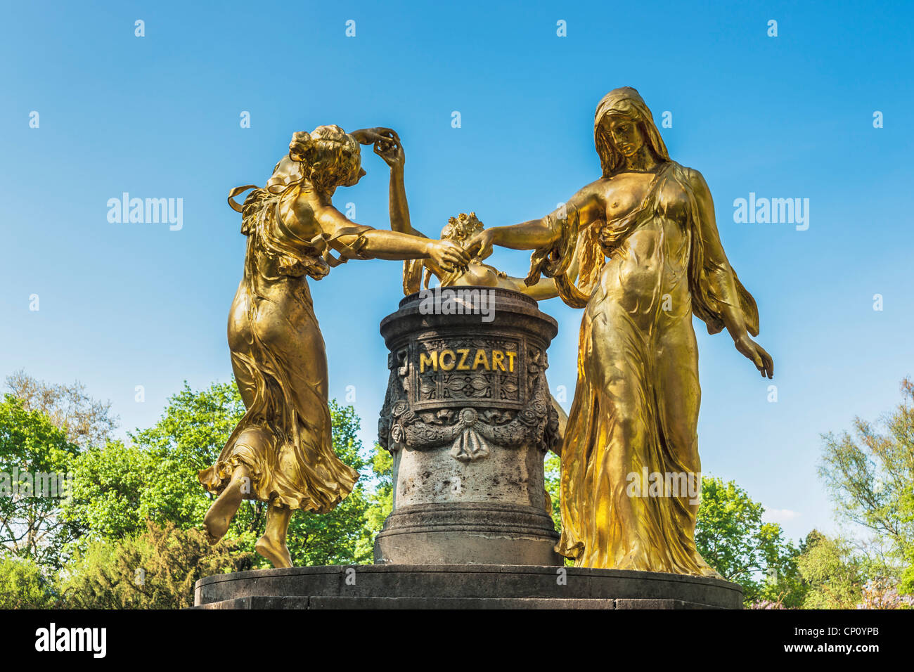 The Mozart fountain is located in the Blueherpark Dresden, Saxony, Germany, Europe - Stock Image