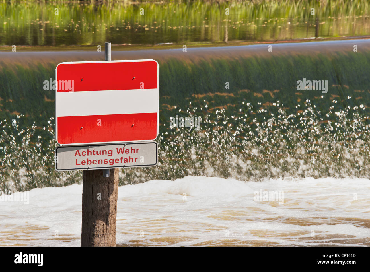 Weir at the river Unstrut in Freyburg (Unstrut), Saxony Anhalt, Germany, Europe Stock Photo