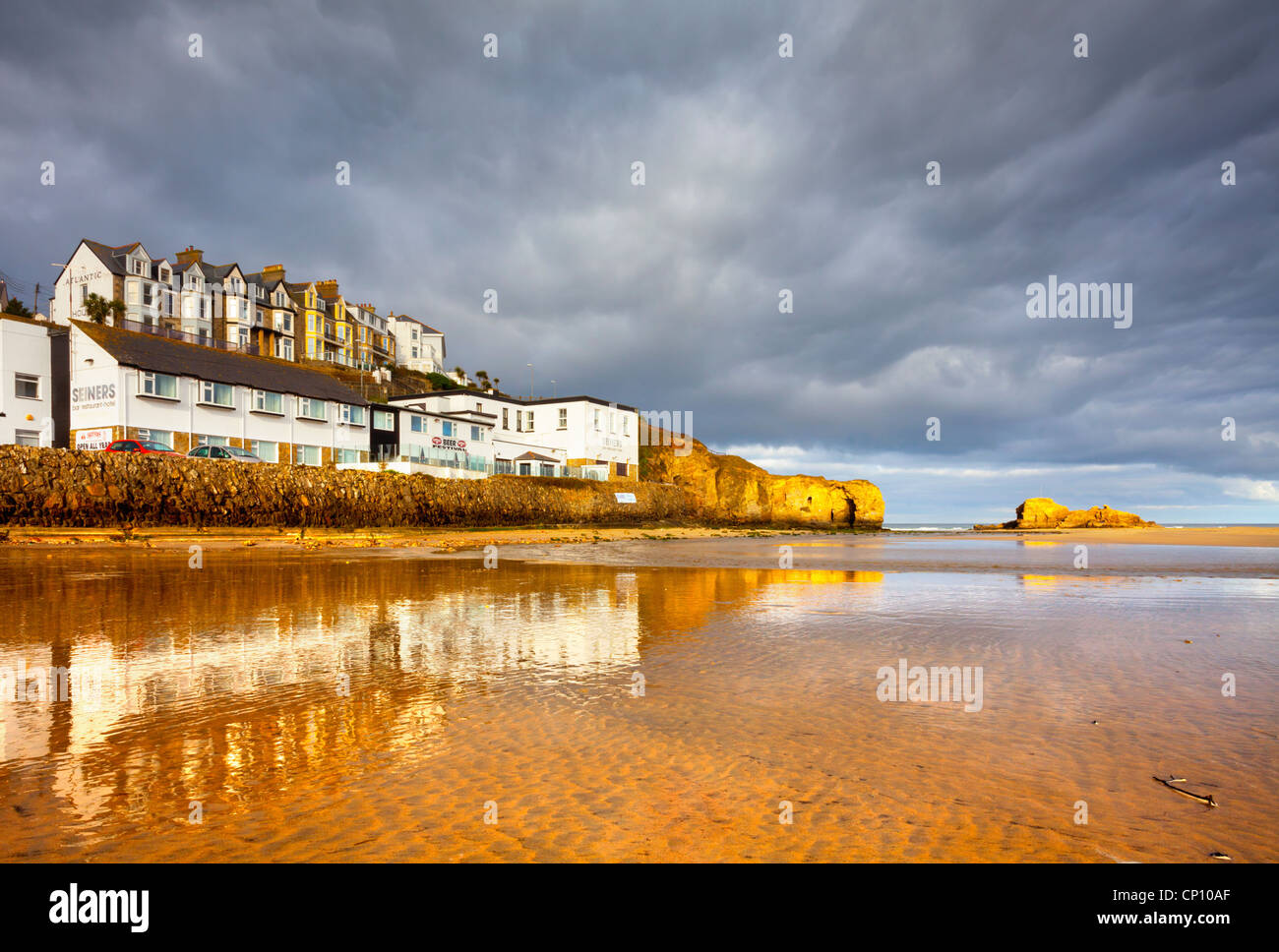Perranporth beach on a stormy winters morning - Stock Image