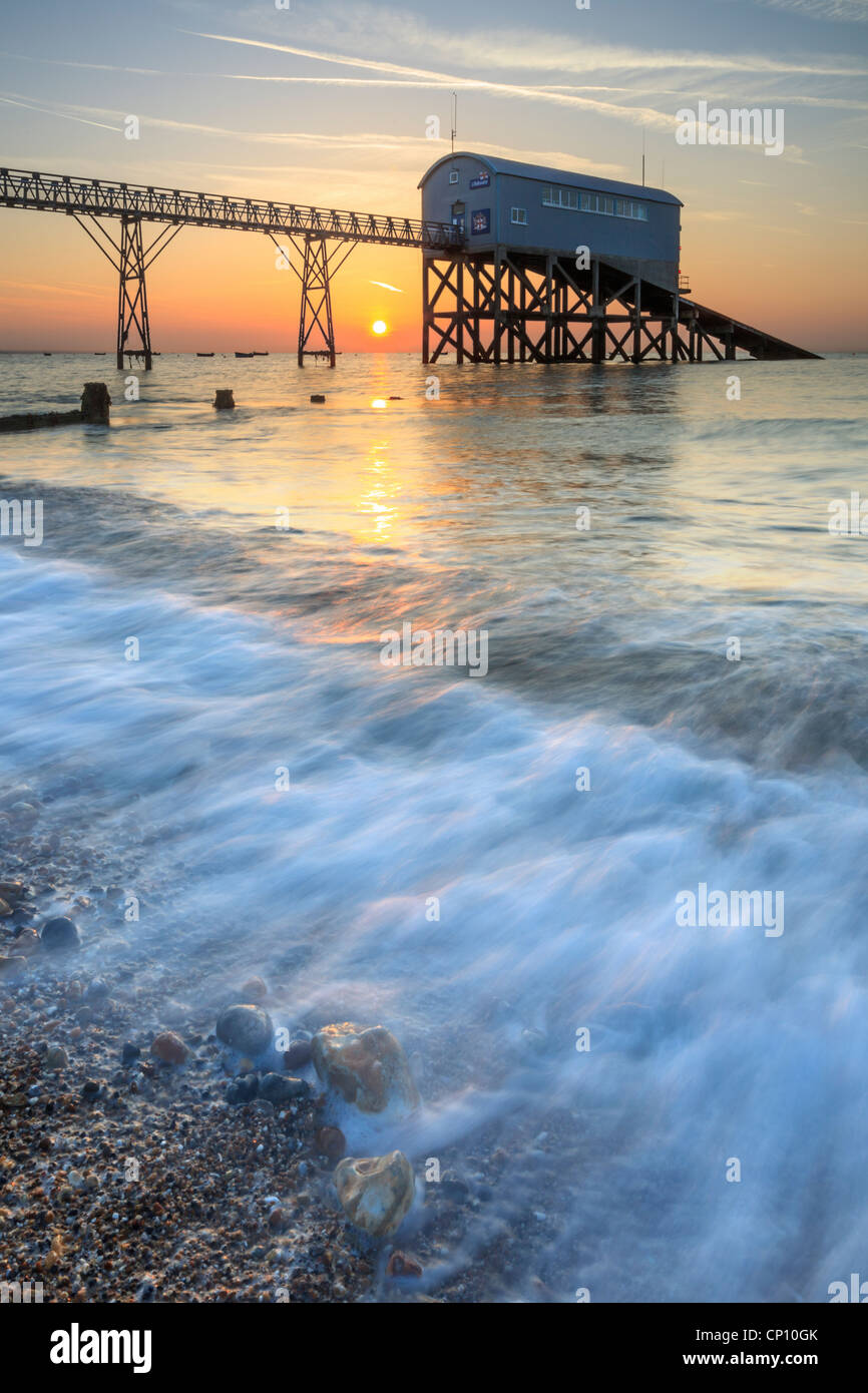 The RNLI Lifeboat Station at Selsey in West Sussex captured at sunrise - Stock Image