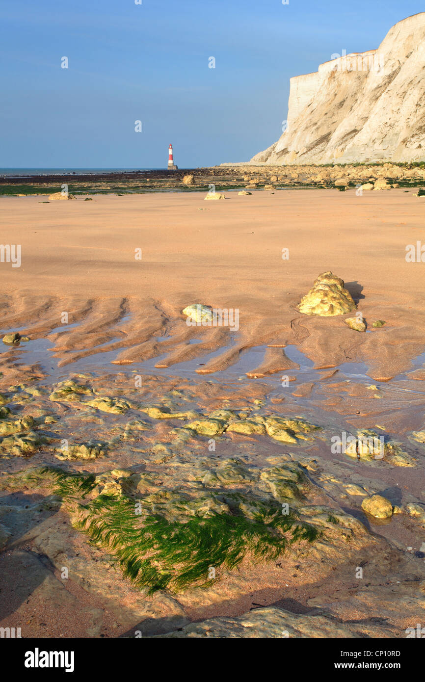Beachy Head and Lighthouse captured from Falling Sands Beach - Stock Image