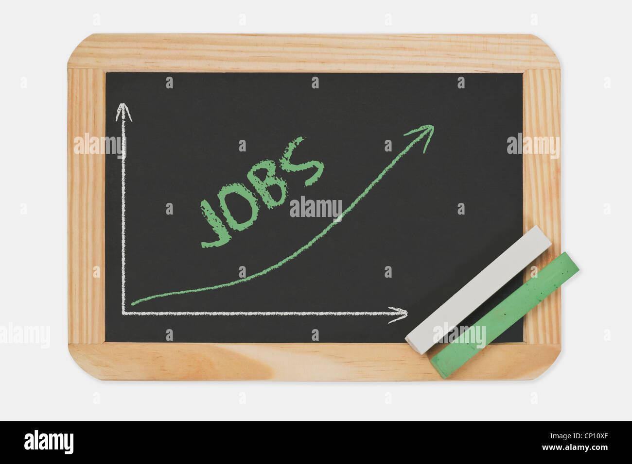 Chalkboard, a chart with an increasing curve. On the chalkboard is the word Jobs written. Green and white chalk. - Stock Image