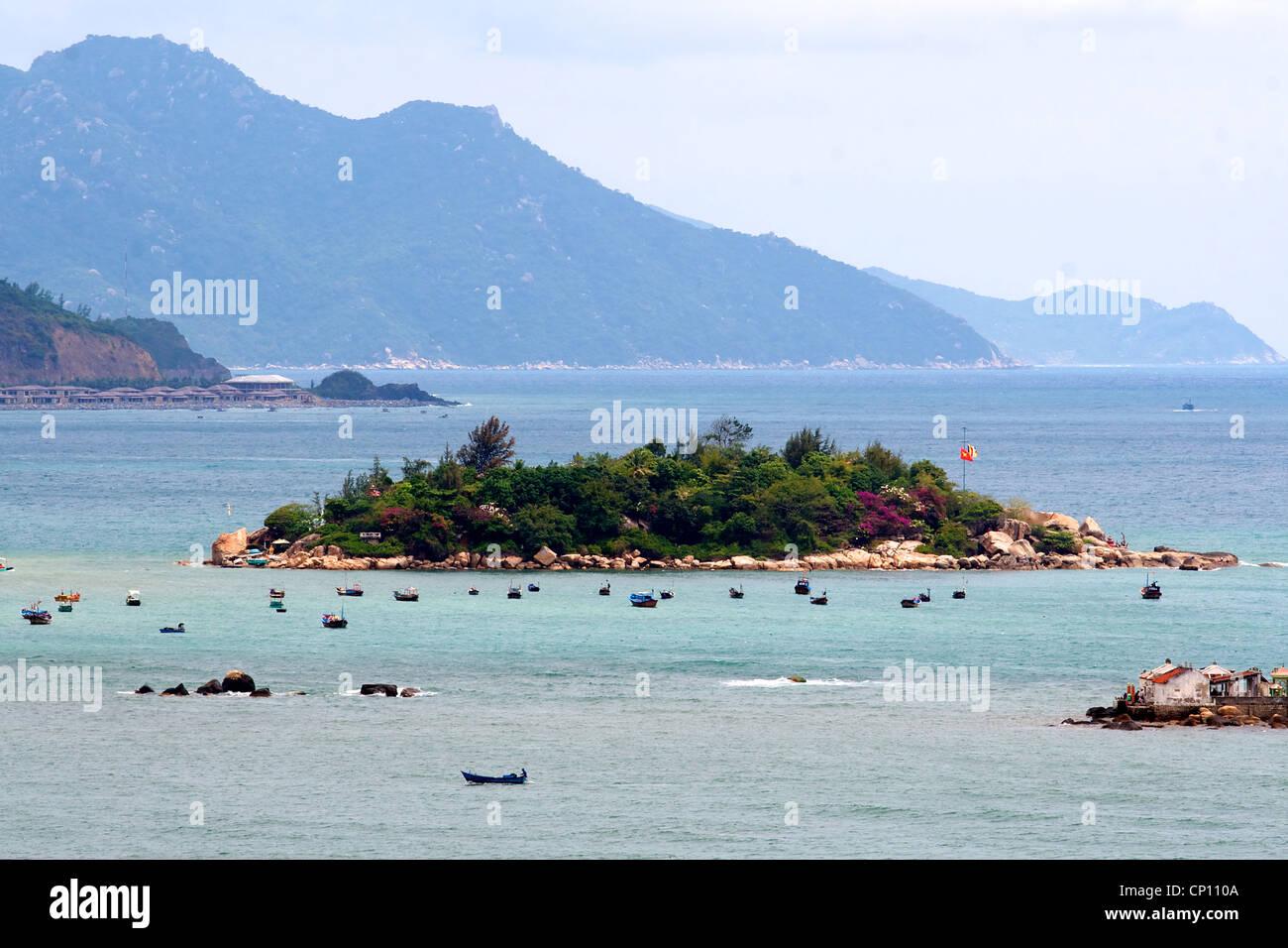 Fishing boats in the bay in Nha Trang, Vietnam. - Stock Image
