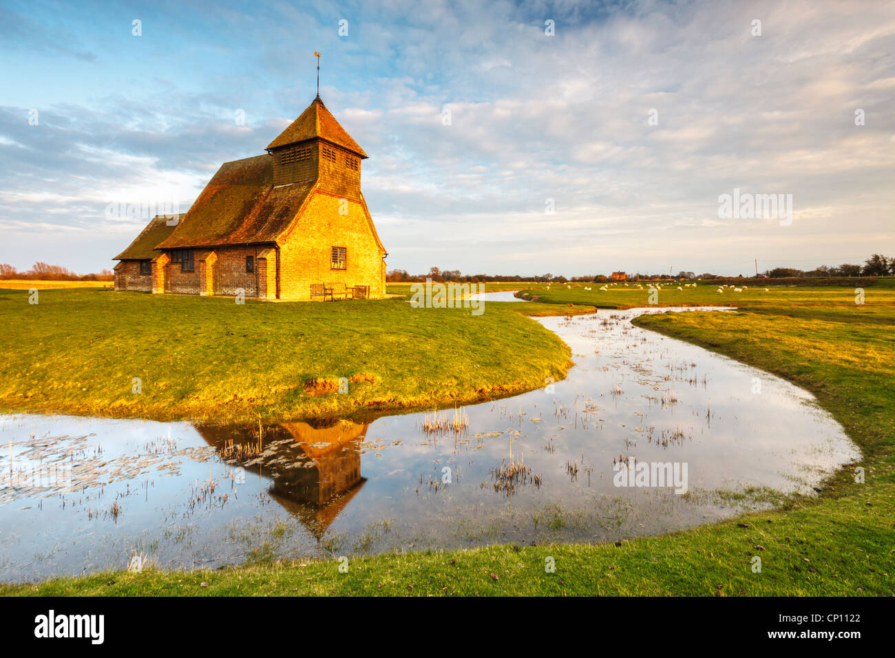 Fairfield Church on Romney Marsh in Kent  captured in warm late evening light - Stock Image