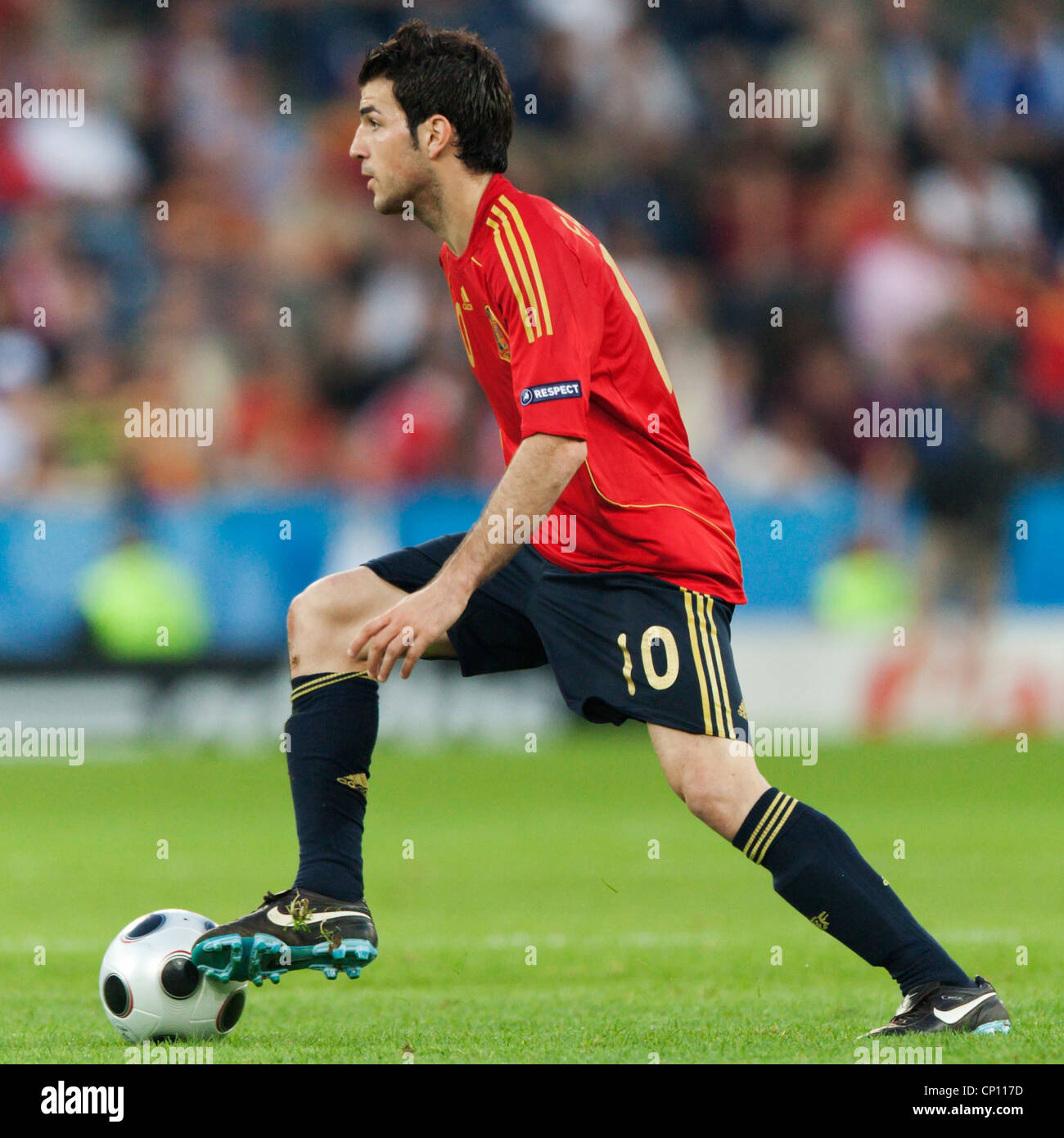Cesc Fabregas of Spain on the ball during a UEFA Euro 2008 Group D match against Greece at Stadion Wals-Siezenheim. - Stock Image