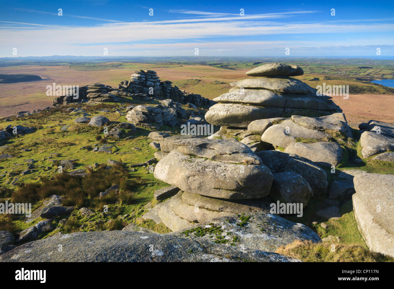 Rough Tor the second highest point in Cornwall - Stock Image