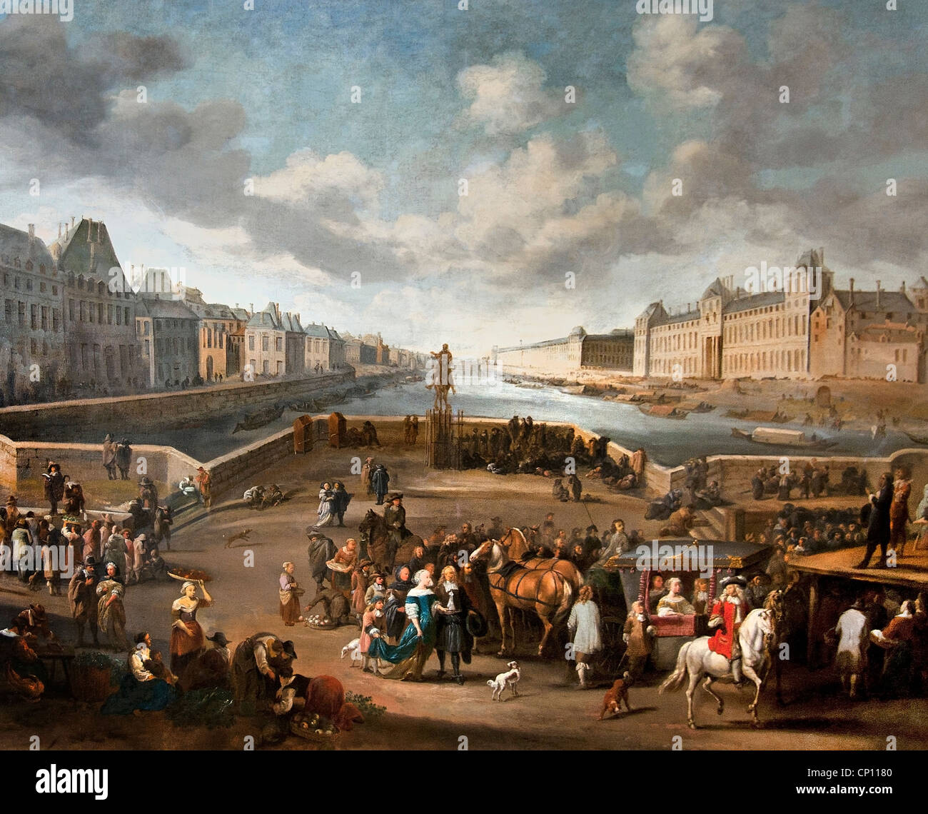 The Louvre seen from Pont Neuf - Le Louvre vu du Pont Neuf 1666 by Hendrick MOMMERS 1623-1693 Dutch Netherlands - Stock Image