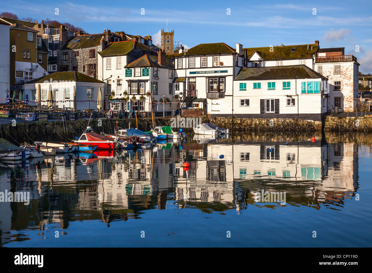 Custom House Quay at Falmouth in Cornwall - Stock Image