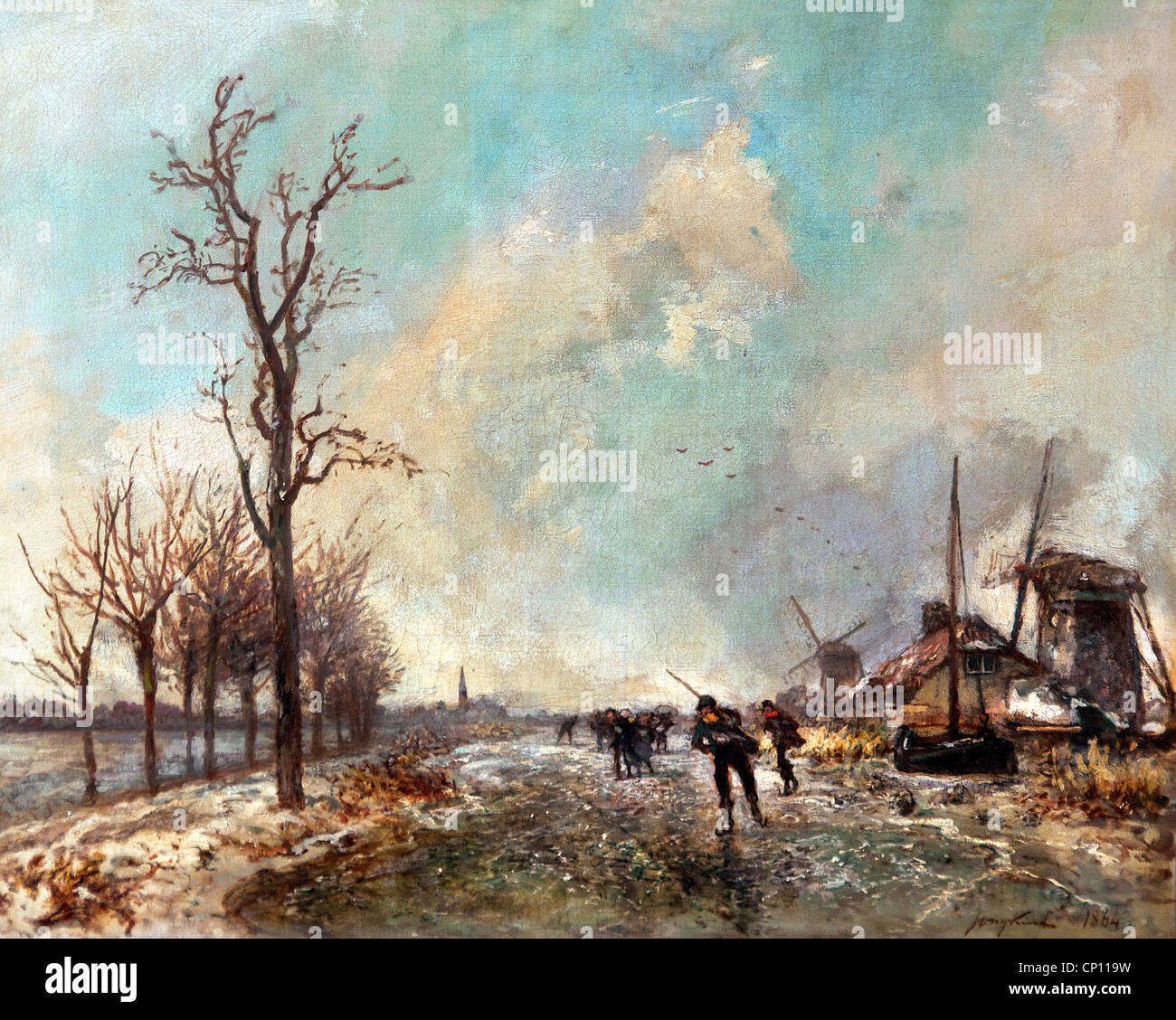 Dutch skaters with two mills on the right 1864 by Johan Barthold JONGKIND  1819-1891 Dutch Netherlands - Stock Image