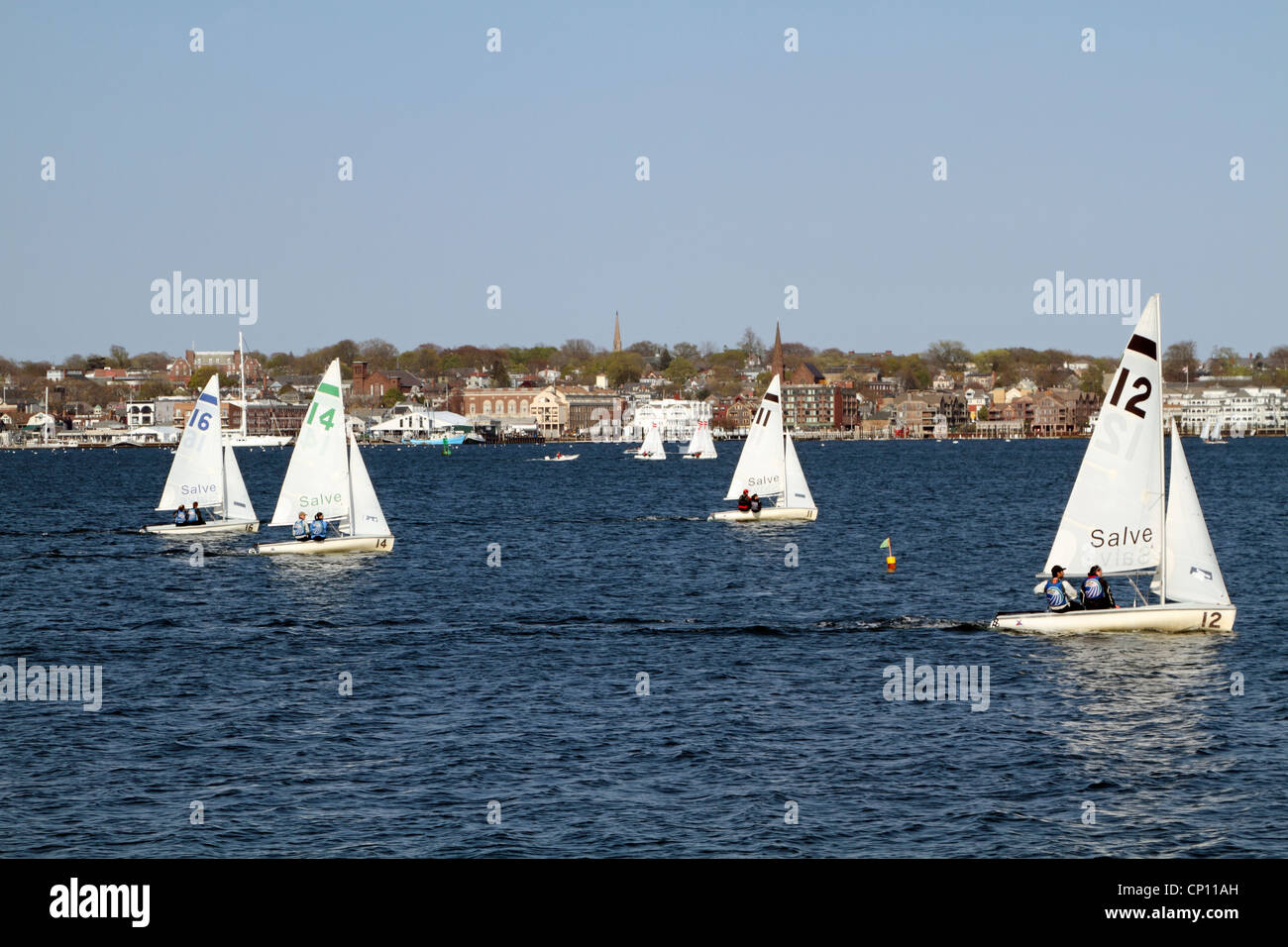 Sailboats racing in the harbor, Newport, Rhode Island, USA - Stock Image