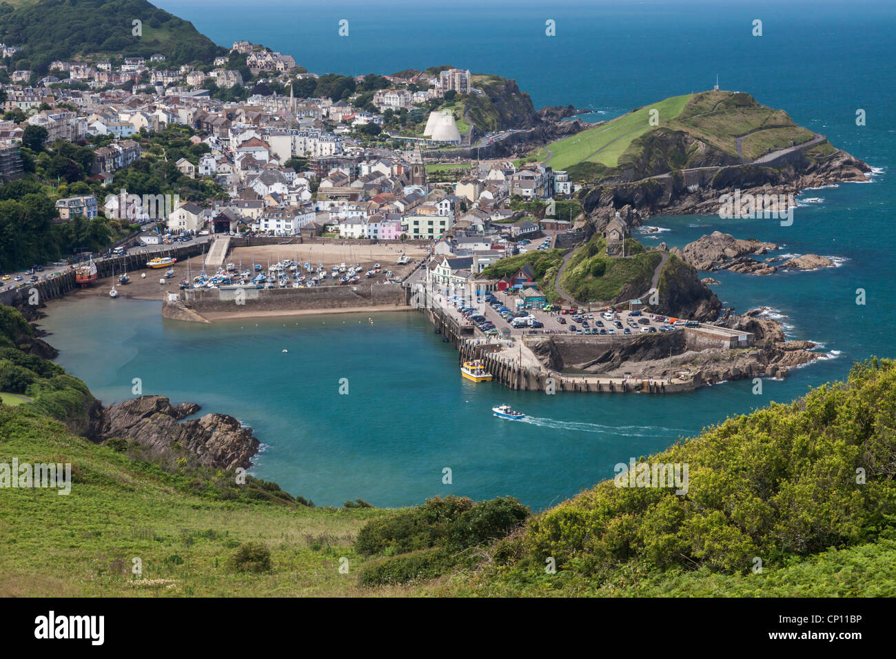 Iifracombe Harbour in North Devon captured from the South West Coast Path - Stock Image