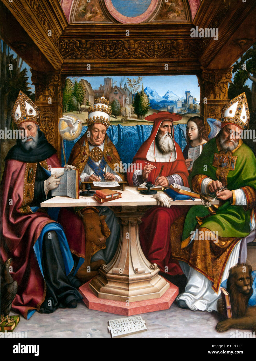 The Four Doctors of the Church 1516 by Pier Francesco SACCHI 1485-1528 Italy Italian - Stock Image