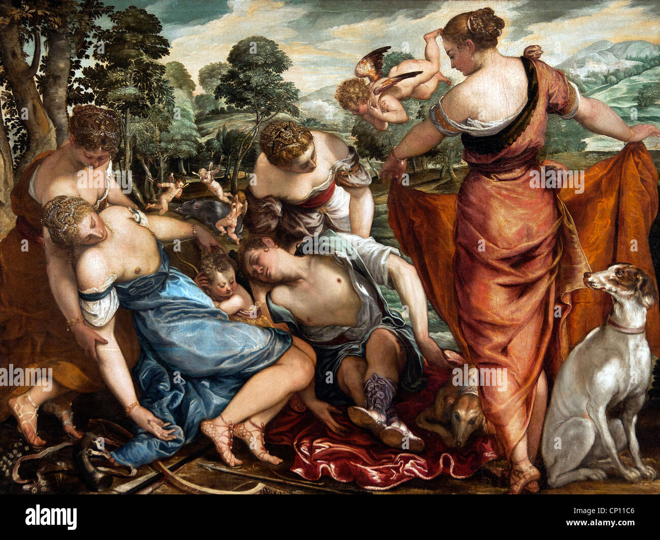 The Death of Adonis by Nordic Painter working in Venice 16 sixteenth century Italy Italian - Stock Image