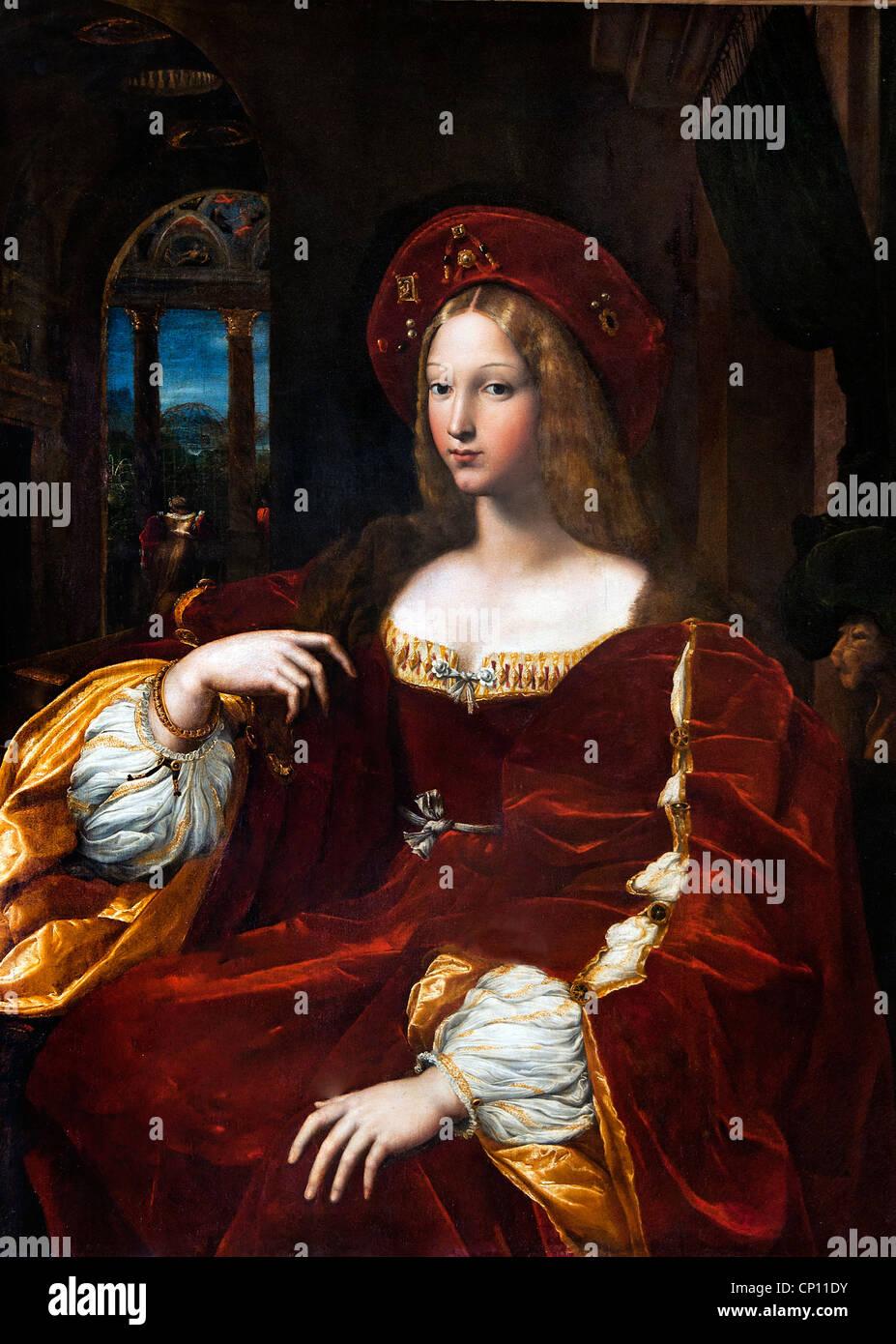 Portrait of Dona Isabel Requesens Vice Queen of Naples  by Raffaello Santi - Raphael 1483 - 1520 and Guilio Pippi - Stock Image