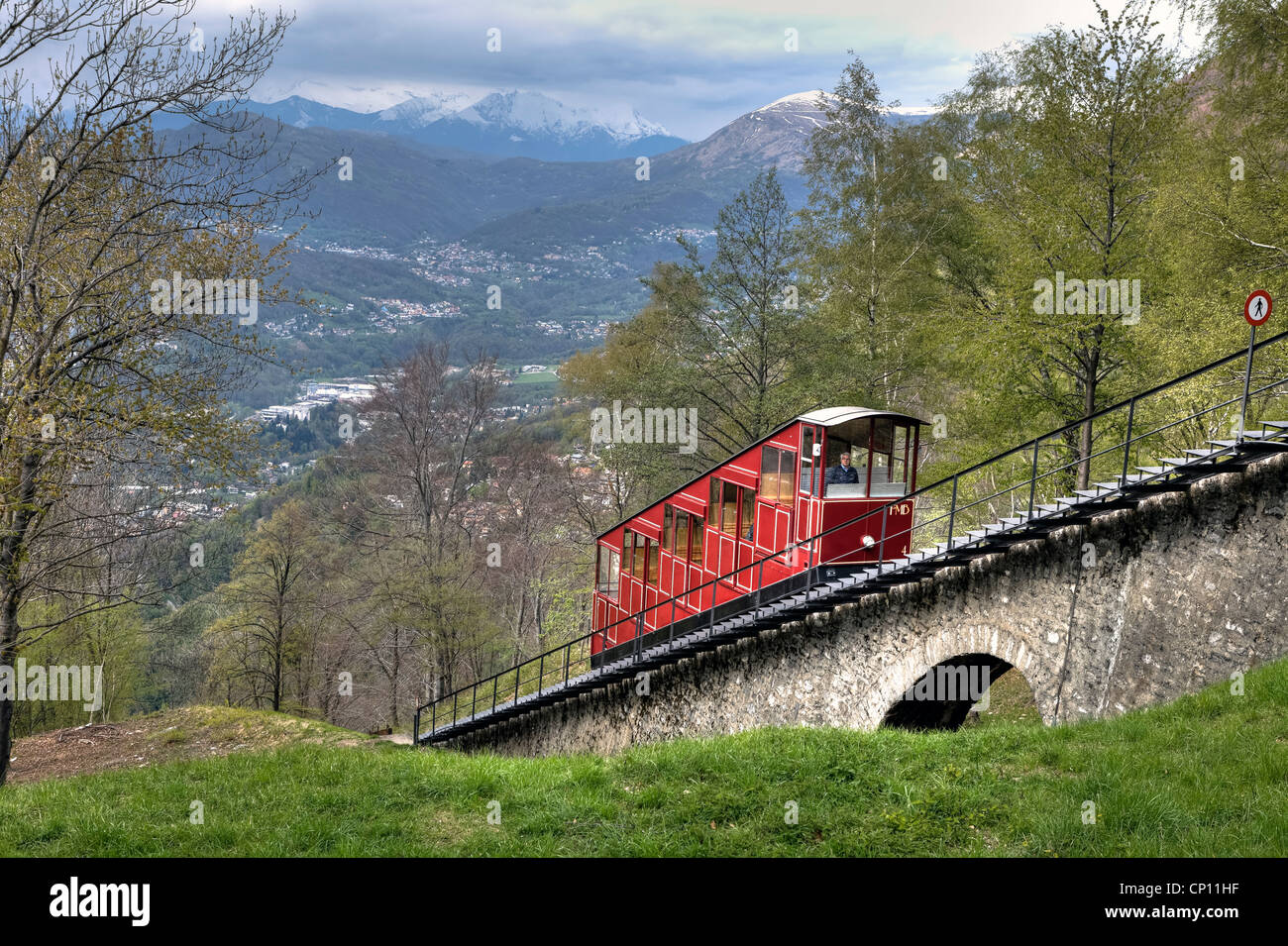 Funicular, Monte Bre, Lugano, Ticino, Switzerland - Stock Image