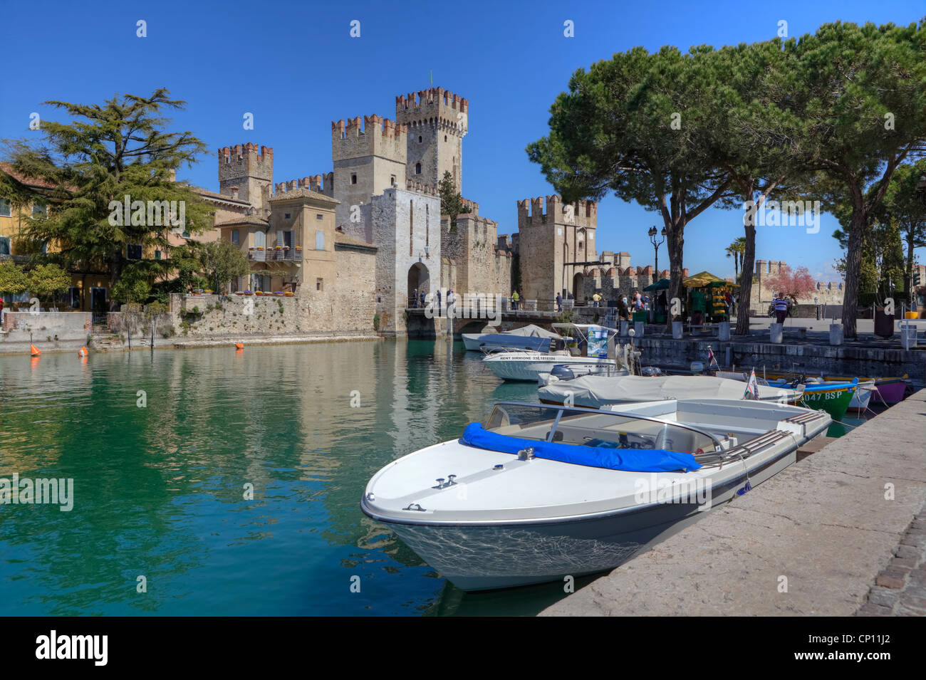 Scaliger Castle, Sirmione, Lombardy, Veneto, Italy - Stock Image