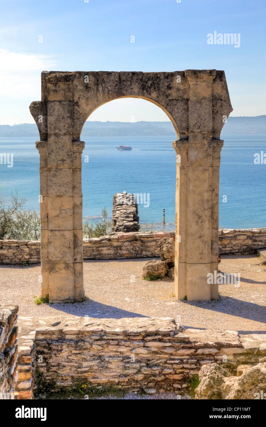 Grottoes of Catullus, Roman villa, Sirmione, Lombardy, Italy - Stock Image