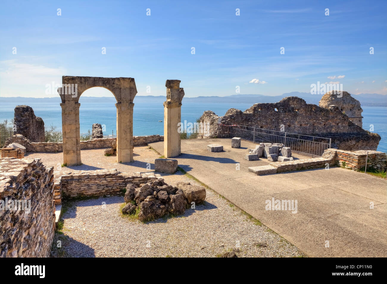 Grottoes of Catullus, Roman villa, Sirmione, Lombardy, Italy Stock Photo