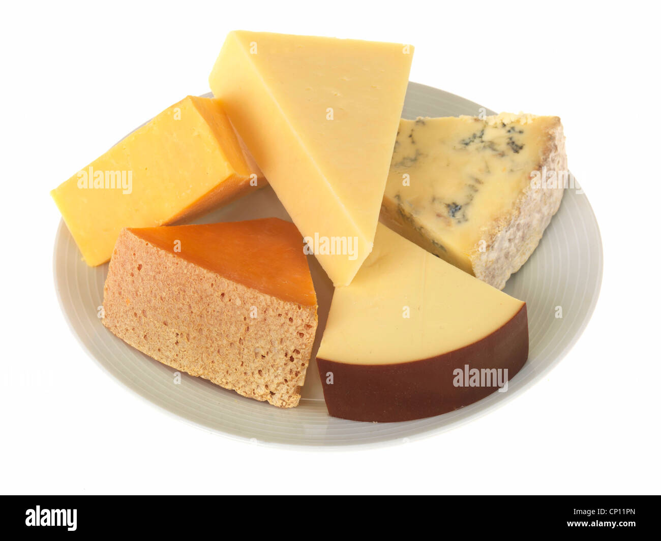Plate of Mixed Cheeses - Stock Image