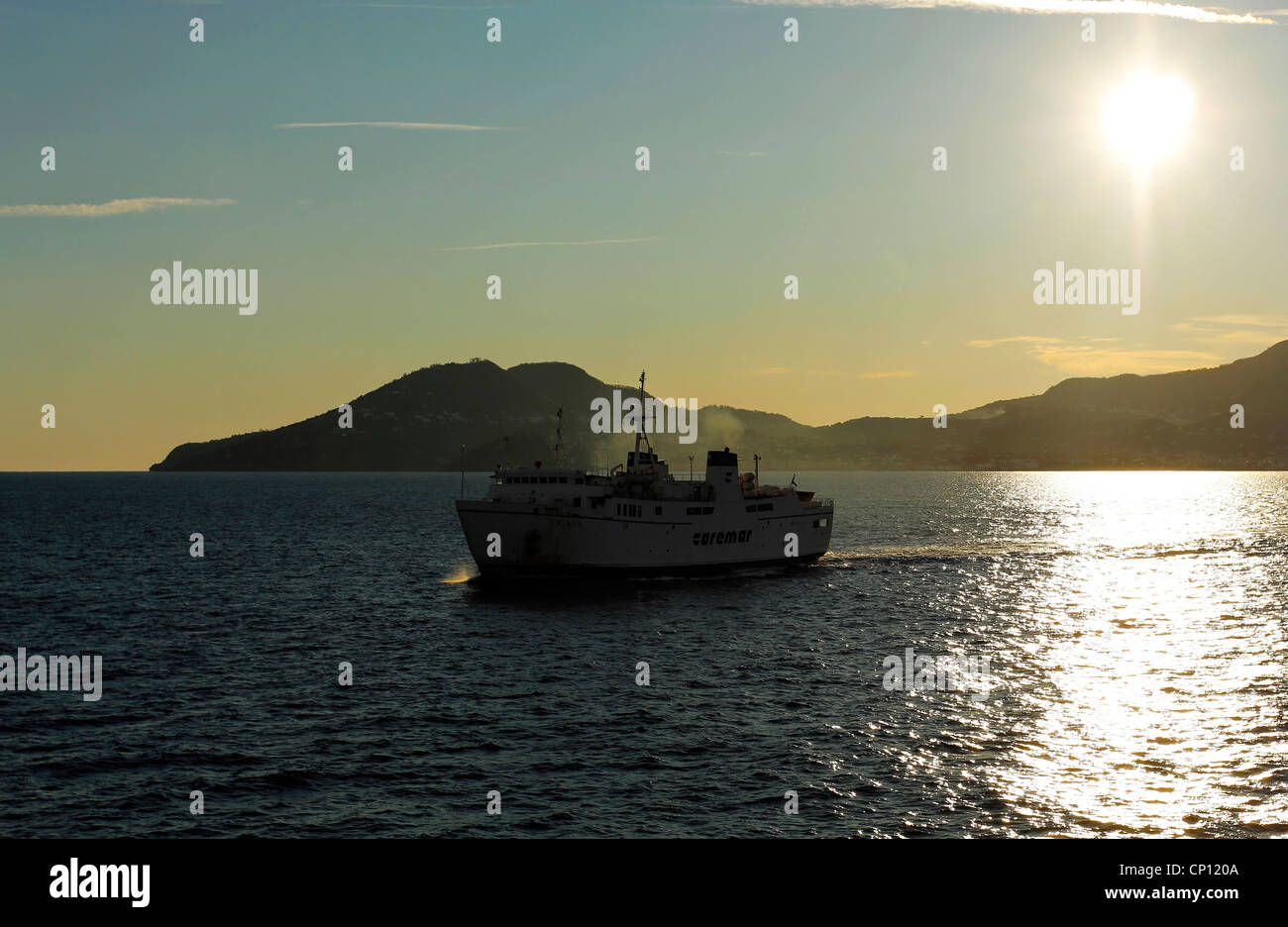 Caremar Ferry Boat in the Gulf of Naples, Campania, Italy - Stock Image