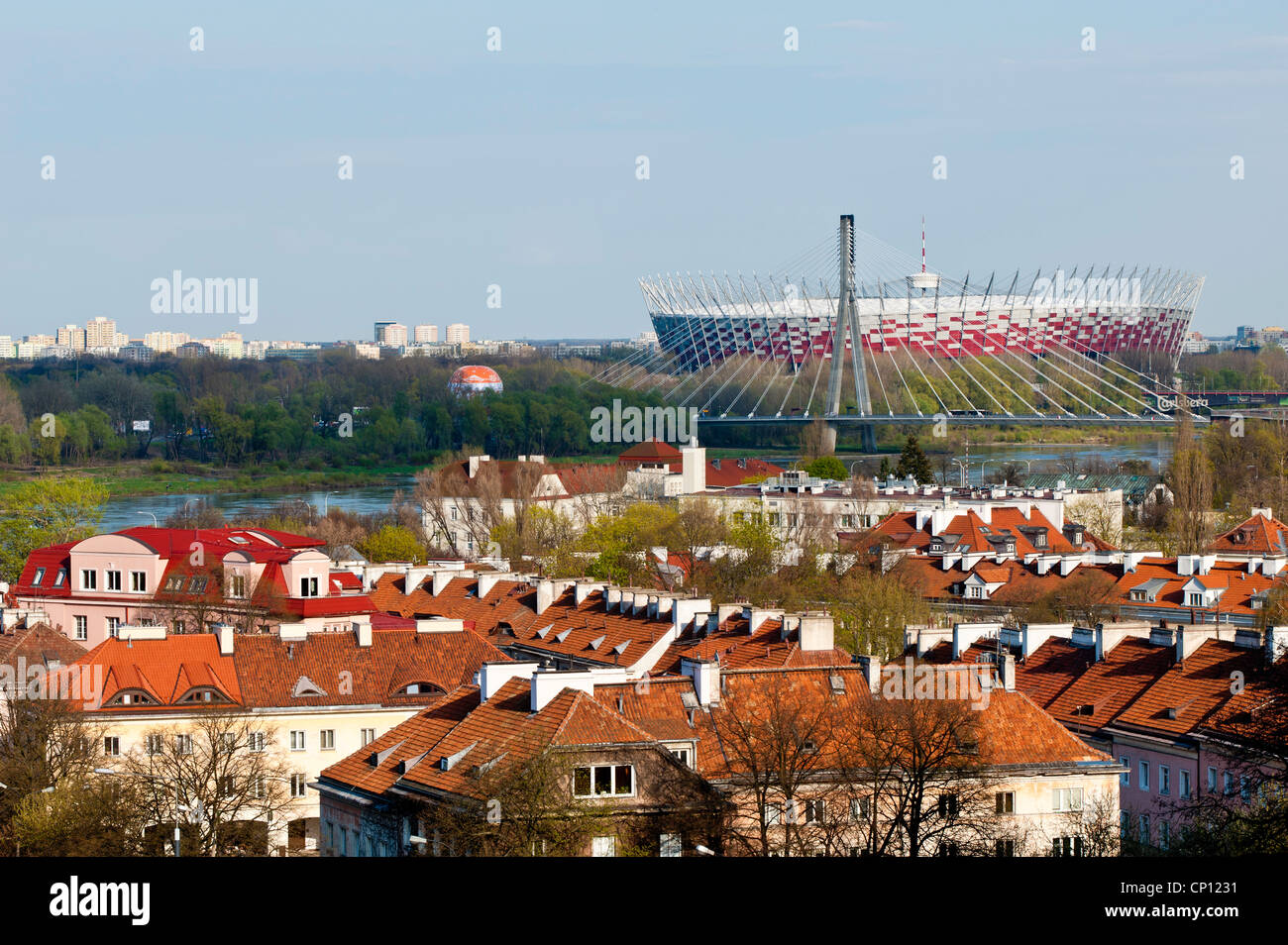 View of National Stadium and rooftops, Warsaw, Poland - Stock Image