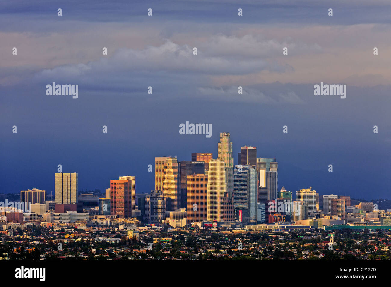 Downtown Los Angeles skyline at dusk with storm clearing in the distance Stock Photo