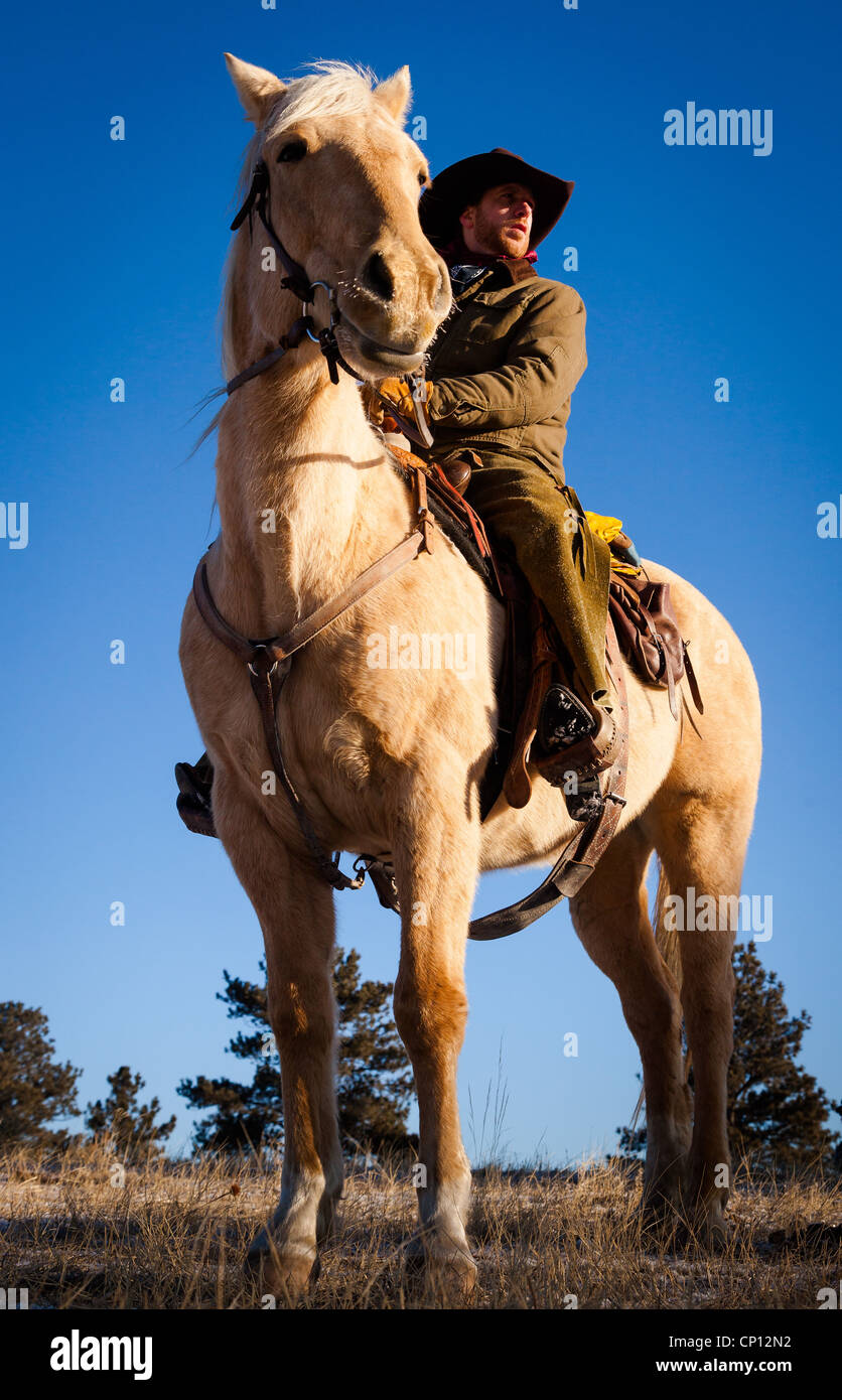 Cowboy on horseback in northeastern Wyoming - Stock Image