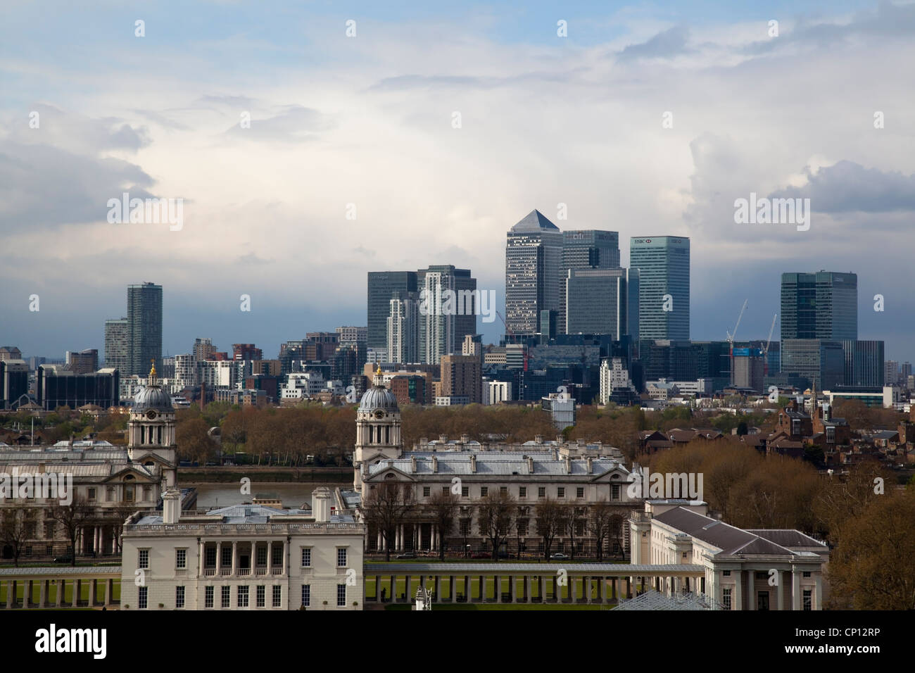 London Docklands from Greenwich - Stock Image